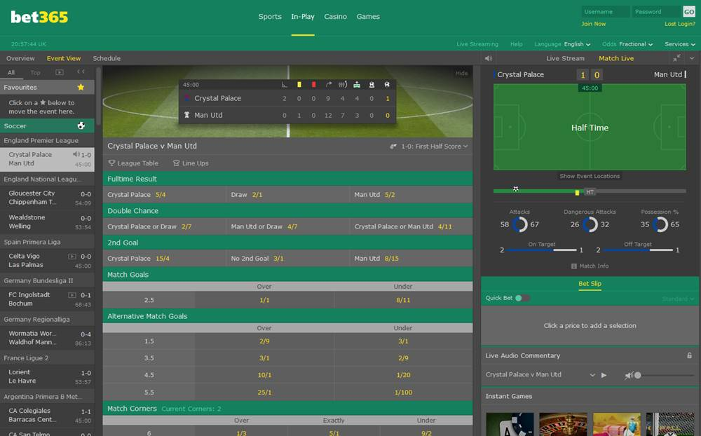 Interface du bookmaker